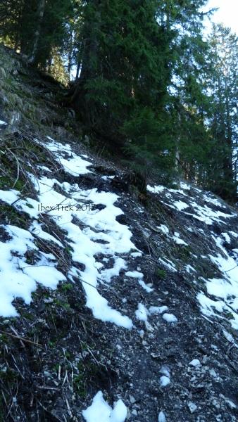 Terre, graviers + neige. Très glissant à toute heure.