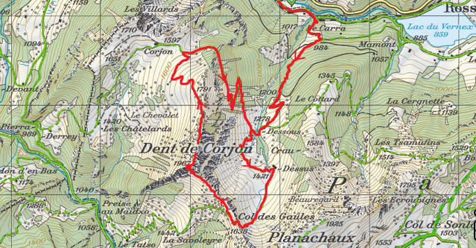 Dent de Corjon depuis la Tine via le Col des Gaules