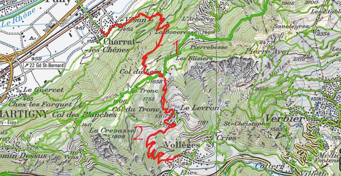 Col du Lein depuis Charrat et Vollèges